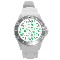 Sweet Shiny Floral Green Round Plastic Sport Watch (l) by ImpressiveMoments