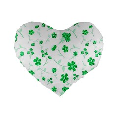 Sweet Shiny Floral Green Standard 16  Premium Heart Shape Cushions by ImpressiveMoments
