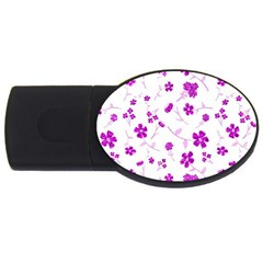 Sweet Shiny Floral Pink Usb Flash Drive Oval (2 Gb)  by ImpressiveMoments