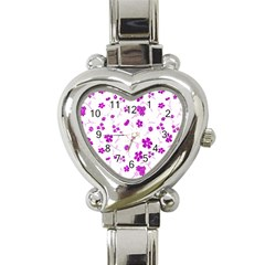 Sweet Shiny Floral Pink Heart Italian Charm Watch by ImpressiveMoments