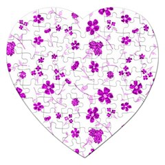 Sweet Shiny Floral Pink Jigsaw Puzzle (heart) by ImpressiveMoments