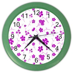 Sweet Shiny Floral Pink Color Wall Clocks by ImpressiveMoments