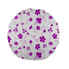 Sweet Shiny Floral Pink Standard 15  Premium Round Cushions by ImpressiveMoments