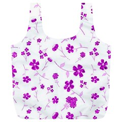 Sweet Shiny Floral Pink Full Print Recycle Bags (l)