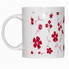 Sweet Shiny Floral Red White Mugs by ImpressiveMoments