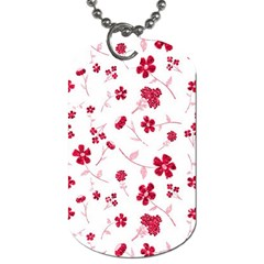 Sweet Shiny Floral Red Dog Tag (two Sides) by ImpressiveMoments