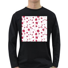 Sweet Shiny Floral Red Long Sleeve Dark T-shirts