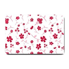 Sweet Shiny Floral Red Small Doormat  by ImpressiveMoments