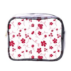 Sweet Shiny Floral Red Mini Toiletries Bags by ImpressiveMoments