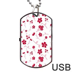 Sweet Shiny Floral Red Dog Tag Usb Flash (one Side) by ImpressiveMoments