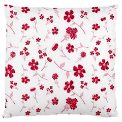 Sweet Shiny Floral Red Large Cushion Cases (one Side)  by ImpressiveMoments
