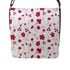 Sweet Shiny Floral Red Flap Messenger Bag (l)  by ImpressiveMoments
