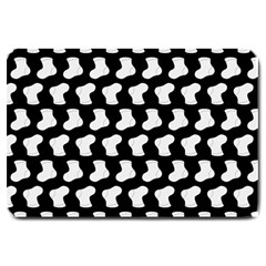 Black And White Cute Baby Socks Illustration Pattern Large Doormat  by creativemom