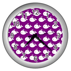 Cute Whale Illustration Pattern Wall Clocks (silver)