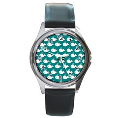 Cute Whale Illustration Pattern Round Metal Watches