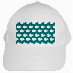 Cute Whale Illustration Pattern White Cap