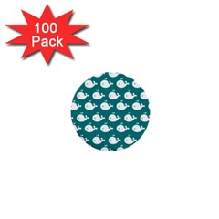 Cute Whale Illustration Pattern 1  Mini Buttons (100 Pack)