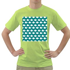 Cute Whale Illustration Pattern Green T-Shirt