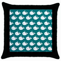 Cute Whale Illustration Pattern Throw Pillow Cases (Black)