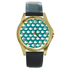 Cute Whale Illustration Pattern Round Gold Metal Watches