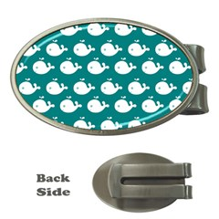 Cute Whale Illustration Pattern Money Clips (Oval)