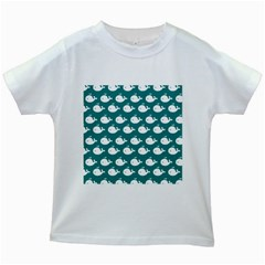 Cute Whale Illustration Pattern Kids White T-Shirts