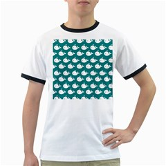 Cute Whale Illustration Pattern Ringer T-Shirts