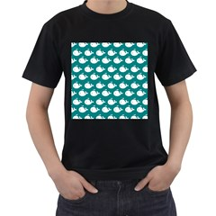 Cute Whale Illustration Pattern Men s T-Shirt (Black) (Two Sided)