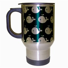 Cute Whale Illustration Pattern Travel Mug (Silver Gray)