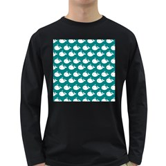 Cute Whale Illustration Pattern Long Sleeve Dark T-Shirts