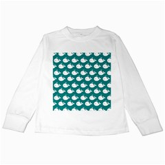Cute Whale Illustration Pattern Kids Long Sleeve T-Shirts