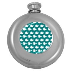 Cute Whale Illustration Pattern Round Hip Flask (5 oz)