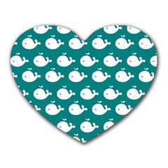 Cute Whale Illustration Pattern Heart Mousepads