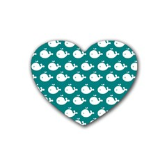 Cute Whale Illustration Pattern Rubber Coaster (Heart)