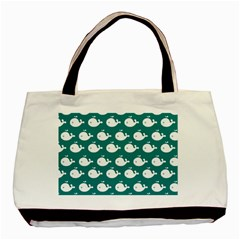 Cute Whale Illustration Pattern Basic Tote Bag (Two Sides)