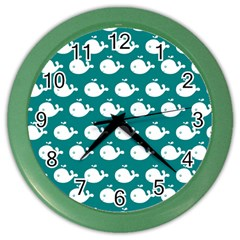 Cute Whale Illustration Pattern Color Wall Clocks