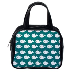 Cute Whale Illustration Pattern Classic Handbags (One Side)
