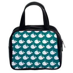 Cute Whale Illustration Pattern Classic Handbags (2 Sides)