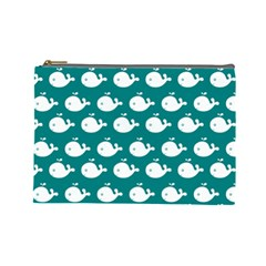 Cute Whale Illustration Pattern Cosmetic Bag (Large)