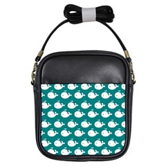 Cute Whale Illustration Pattern Girls Sling Bags