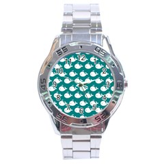 Cute Whale Illustration Pattern Stainless Steel Men s Watch