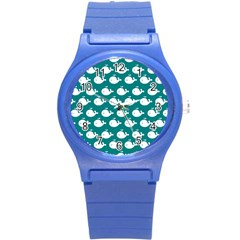 Cute Whale Illustration Pattern Round Plastic Sport Watch (S)