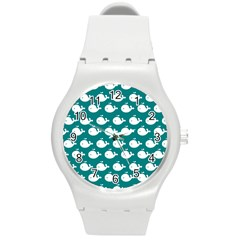Cute Whale Illustration Pattern Round Plastic Sport Watch (M)
