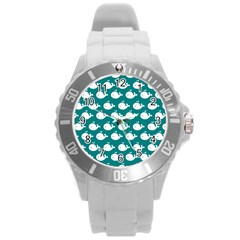 Cute Whale Illustration Pattern Round Plastic Sport Watch (L)