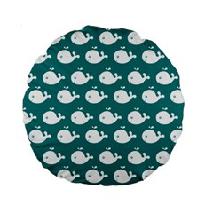 Cute Whale Illustration Pattern Standard 15  Premium Round Cushions