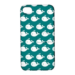 Cute Whale Illustration Pattern Apple iPhone 4/4S Hardshell Case with Stand