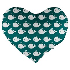 Cute Whale Illustration Pattern Large 19  Premium Flano Heart Shape Cushions