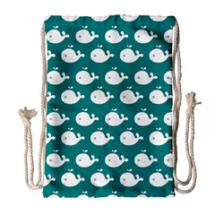 Cute Whale Illustration Pattern Drawstring Bag (Large)