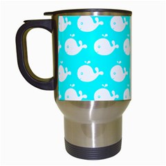 Cute Whale Illustration Pattern Travel Mugs (white) by creativemom