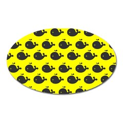 Cute Whale Illustration Pattern Oval Magnet
